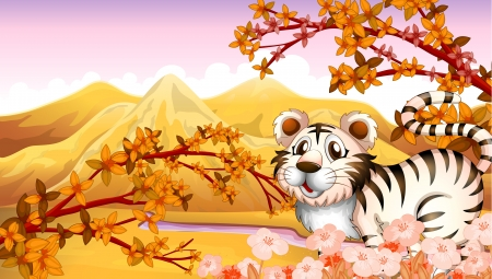 temperate: Illustration of an autumn view with a tiger Illustration