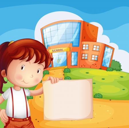Illustration of a kid in front of a school with an empty paper Vector
