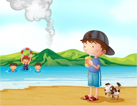 man drinking water: Illustration of kids swimming and a boy and his pet at the seashore