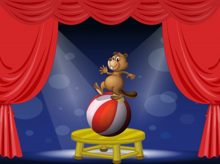 centerstage: Illustration of a beaver balancing with a ball Illustration