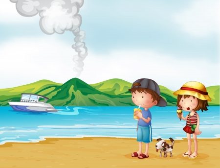 Illustration of a young girl and a young boy strolling at the beach Vector