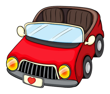 convertible car: Illustration of a red vehicle on a white background Illustration