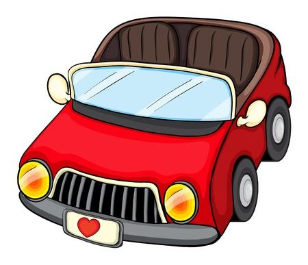 carritos de juguete: Ilustración de un vehículo de color rojo sobre un fondo blanco