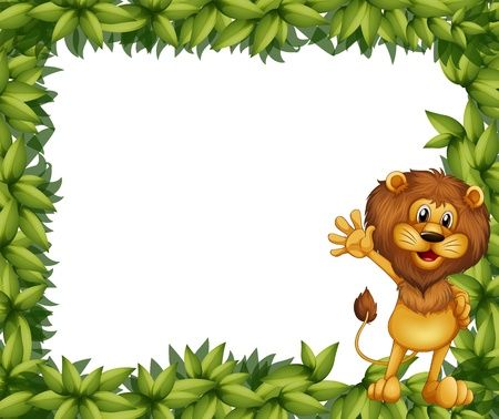 Illustration of a green leafy border with a lion