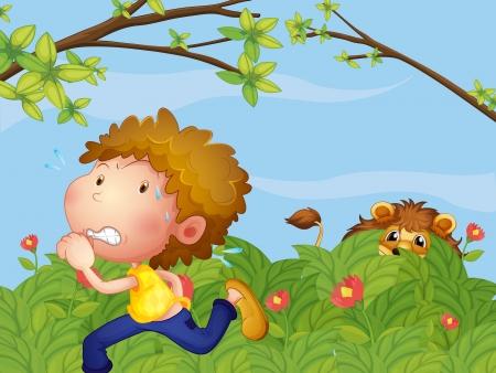 fleeing: Illustration of a scared boy running