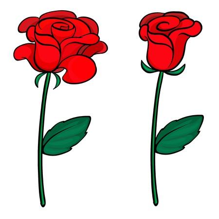 Cartoon Rosen Und Blätter Auf Weißem Hintergrund Isoliert