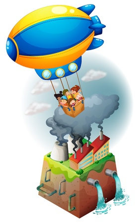drainage: Illustration of kids carried by an airship on a white background
