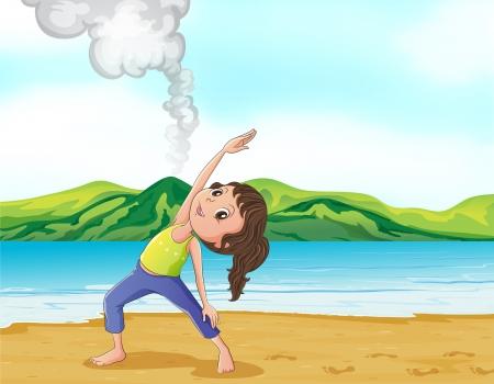 lake beach: Illustration of a girl exercising near the volcano Illustration