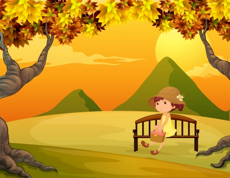 Illustration of a girl at the bench in the park Vector
