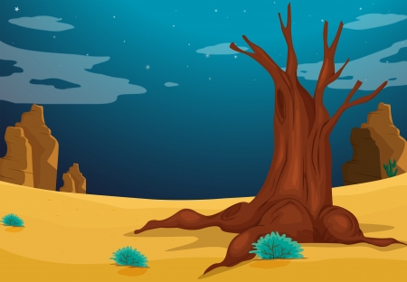 Illustration of a desert with a big tree Vector