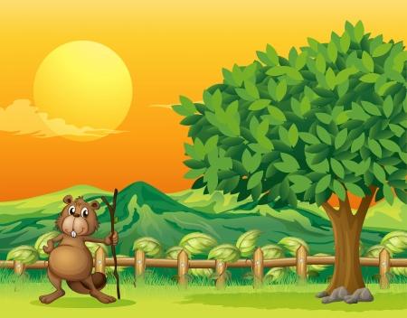 nutria caricatura: Ilustraci�n de un castor que sostiene un palo en la monta�a