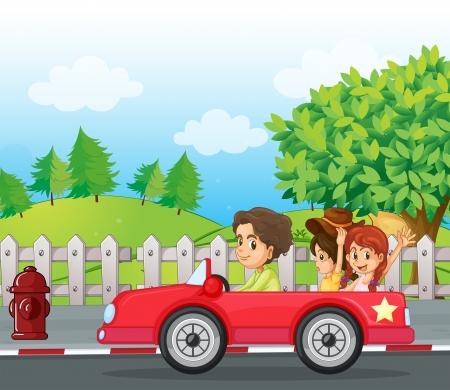 driving a car: Illustratio de un caballero joven que conduce un coche con dos damas en la parte posterior
