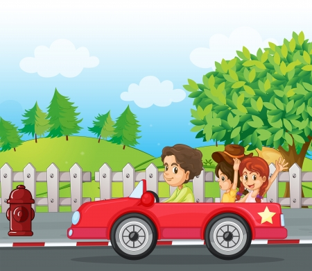 cloud clipart: Illustratio of a young gentlemen driving a car with two ladies at the back