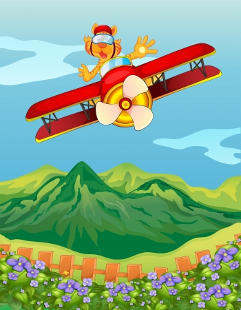 plane cartoon: Illustration of a tiger riding in an airplane