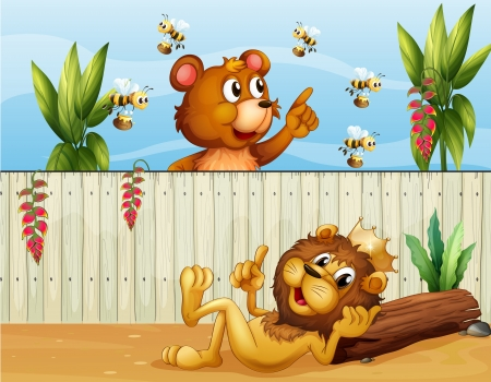 Illustration of a lion, a bear and bees Vector