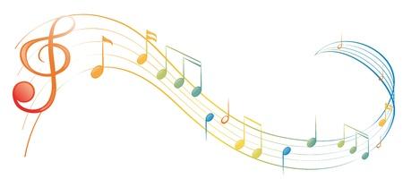 白い背景の上の音楽ノートのイラスト
