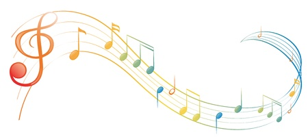 합창단: 흰색 배경에 음악 노트의 그림 일러스트