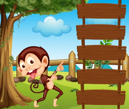 Illustration of a monkey pointing at the empty signboard Vector