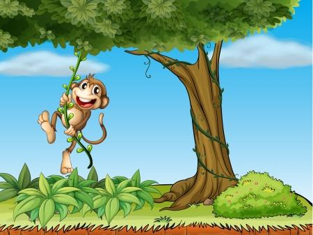 Illsutration de un mono jugando con la planta de vid