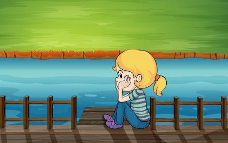 little girl sitting: Illustration of a little girl at the bridge Illustration