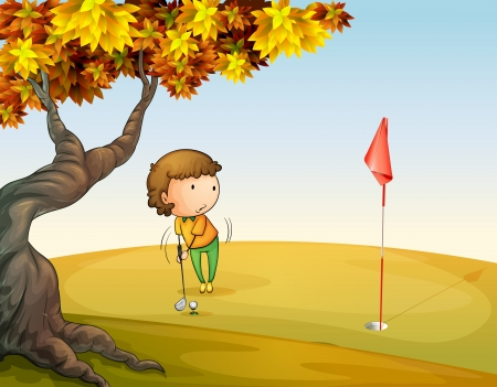 Illustration of a woman playing golf at the park Vector