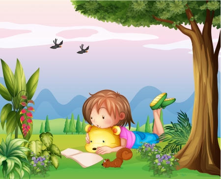 young bird: Illustration of a girl reading at the park