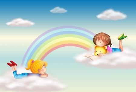 soñando: Ilustración de dos niñas a lo largo del arco iris