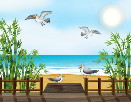 Illustration of a flock of birds at the bridge Vector