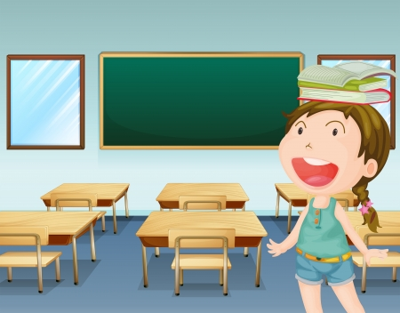 class room: Illustration of a young girl inside a classroom