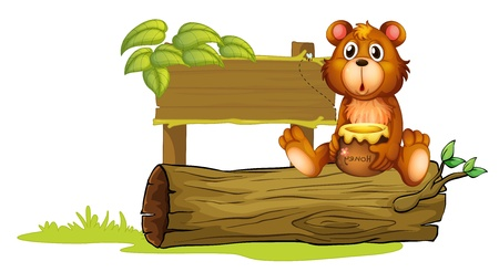 honey bear: Illustration of a bear sitting on a trunk on a white background