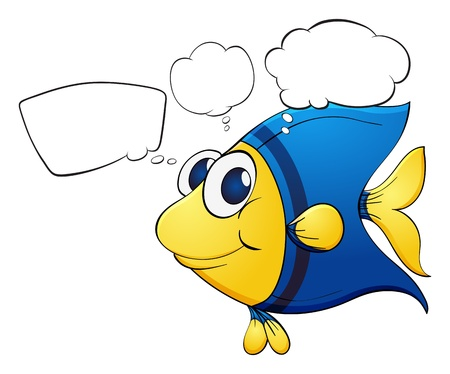 speach: Illustration of a colorful fish with callouts on a white background