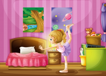 bedroom wall: Illustration of a young girl exercising in her room Illustration