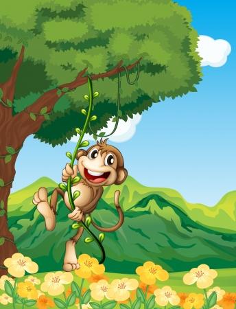 mono caricatura: Ilustración de un mono aferrándose a la planta de vid Vectores