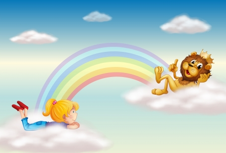 Illustration of a girl and a king lion across the rainbow Vector