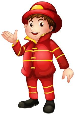 bombero de rojo: Ilustraci�n de un bombero con un uniforme completo en un fondo blanco Vectores
