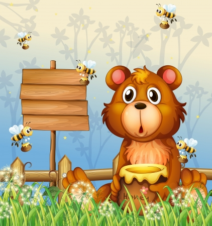 Illustration of a bear and bees near a signage Illustration