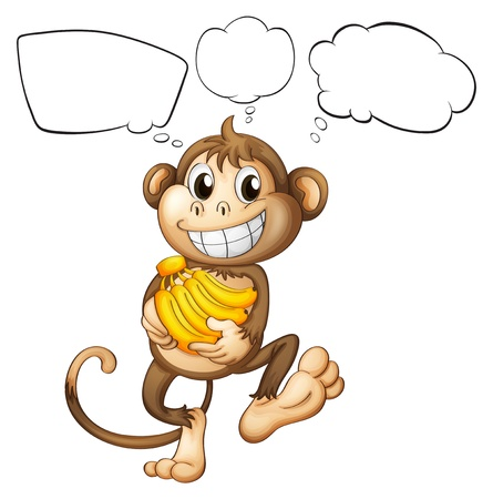 Illustration of a monkey with bananas on a white background Vector