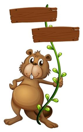 castor: Ilustración de un castor que sostiene una planta de vid con letreros sobre un fondo blanco Vectores