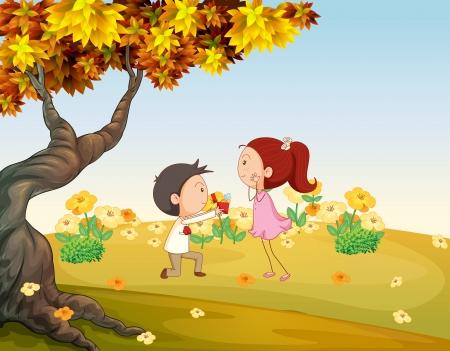 enamorados caricatura: Ilustración de una propuesta en las colinas Vectores