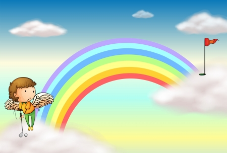 Illustration of an angel playing golf near the rainbow Vector
