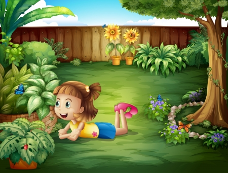 Illustration of a little girl watching a butterfly Vector