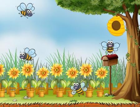 정원에있는 네 개의 꿀벌의 그림 일러스트