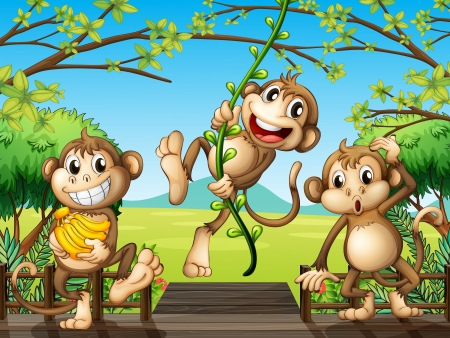 banana leaf: Illustration of monkeys at the wooden bridge