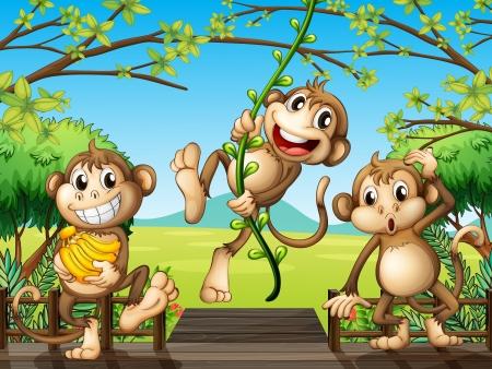 banana caricatura: Ilustraci�n de los monos en el puente de madera