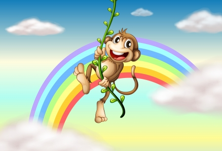 Illustration of a monkey hanging on a vine plant near the rainbow Vector
