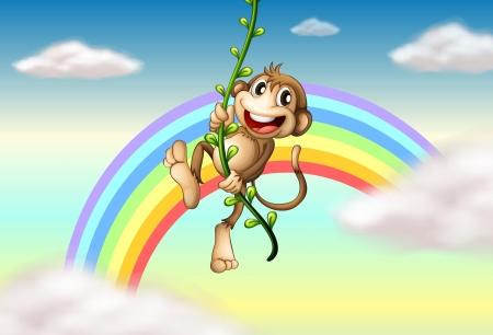 vine  plant: Illustration of a monkey hanging on a vine plant near the rainbow