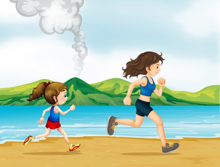 Illustration of a child and a woman jogging Vector