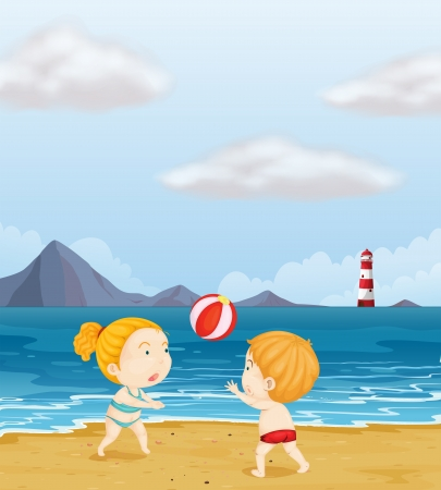 little girl beach: Illustration of a girl and a boy playing volleyball at the beach