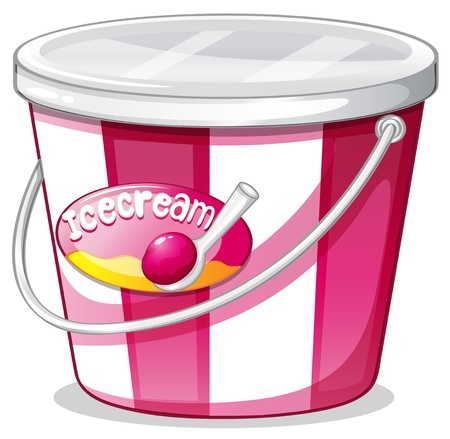 white cream: Illustration of an ice cream bucket on a white background Illustration