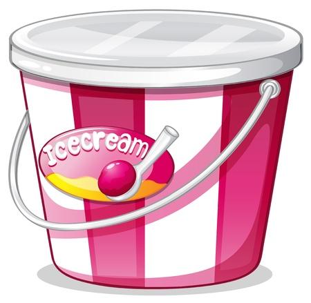 Ilustración de un cubo de helado sobre un fondo blanco Ilustración de vector